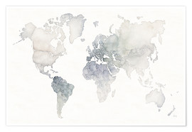 Poster  World map watercolor - Laura Marshall