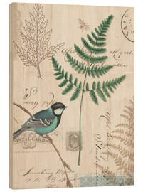 Wood print  Fern and Tit I - Katie Pertiet