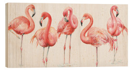 Wood print  Pink flamingos VIII - Lisa Audit