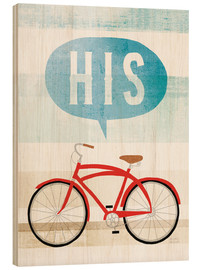 Wood print  His bike II - Michael Mullan