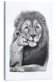Canvas print  Lion with lion cub - Valeriya Korenkova