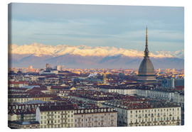 Canvas print  Turin (Torino) city skyline at sunrise, Italy, snowcapped Alps background - Fabio Lamanna