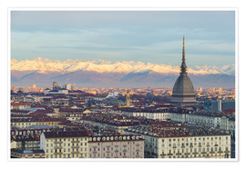 Premium poster Turin (Torino) city skyline at sunrise, Italy, snowcapped Alps background