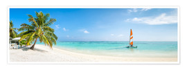 Premium poster Maldives beach panorama with sailboat