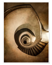 Premium poster Spiral staircase in brown colors