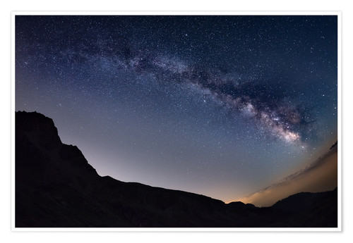 Premium poster Milky Way arch and starry sky at high altitude in summertime on the Alps