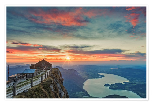 Premium poster Sunset at Mount Schafberg