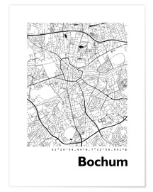 Poster City map of Bochum