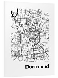 Foam board print  City map of Dortmund - 44spaces