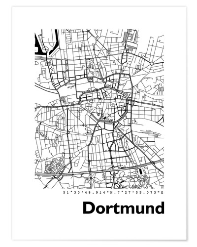Poster City map of Dortmund
