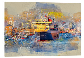Acrylic print  Hamburg Queen Mary II, in the background the Elbphilharmonie - Peter Roder
