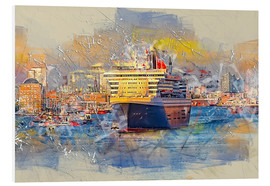 Foam board print  Hamburg Queen Mary II, in the background the Elbphilharmonie - Peter Roder