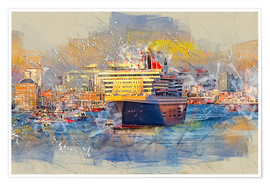 Premium poster  Hamburg Queen Mary II, in the background the Elbphilharmonie - Peter Roder