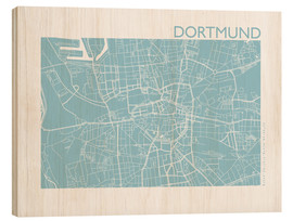 Wood print  City map of Dortmund - 44spaces