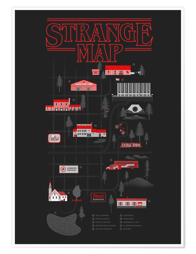Premium poster Stranger Things map