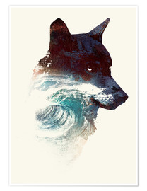 Premium poster Wolf and wave