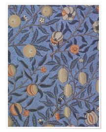Premium poster  Blue fruit or pomegranate - William Morris