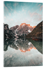 Acrylic print  Sunrise at the braies lake - MUXPIX