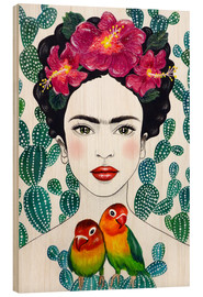 Wood print  Frida's lovebirds - Mandy Reinmuth