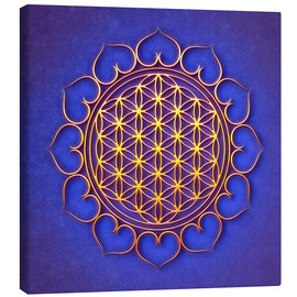 Canvas  Flower of Life Lotus - Golden Shine On Blue Beauty - Dirk Czarnota