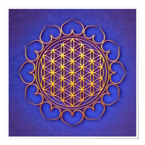 Premium poster Flower of Life Lotus - Golden Shine On Blue Beauty