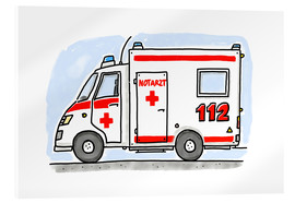 Acrylic print  Hugos ambulance (German) - Hugos Illustrations