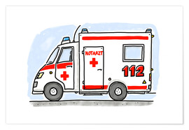 Poster  Hugos ambulance - Hugos Illustrations