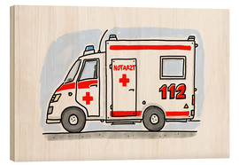 Wood print  Hugos ambulance (German) - Hugos Illustrations