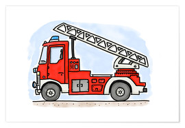 Poster  Hugos fire department cart - Hugos Illustrations