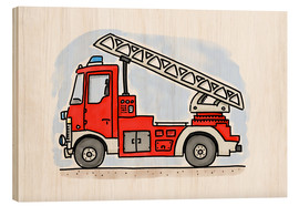 Wood print  Firetruck - Hugos Illustrations