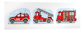 Acrylic print  Hugo's fire trucks - Hugos Illustrations