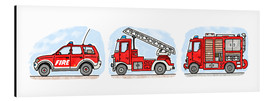 Aluminium print  Hugo's fire trucks - Hugos Illustrations