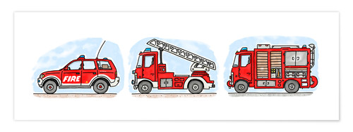 Premium poster Hugo's fire trucks