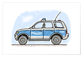 Poster  Hugos police car - Hugos Illustrations