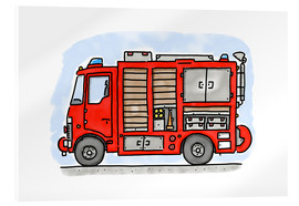 Acrylic print  Hugos fire department emergency vehicle - Hugos Illustrations