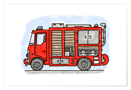 Poster  Hugos fire department emergency vehicle - Hugos Illustrations