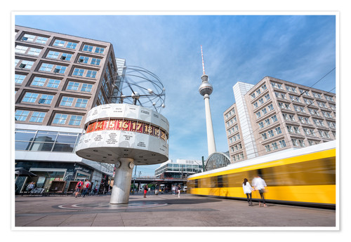 Premium poster World clock and TV tower at Alexanderplatz in Berlin