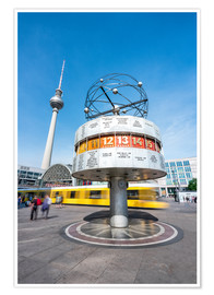 Poster World Clock and TV Tower at Alexanderplatz in Berlin, Germany