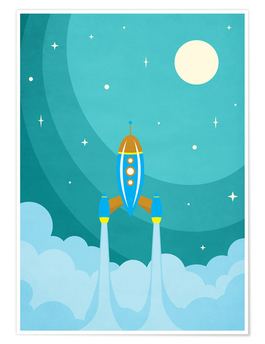 Premium poster Rocket launch into space