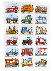 Acrylic glass  All my cars - Hugos Illustrations