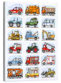 Canvas print  All my cars - Hugos Illustrations