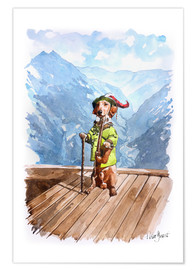 Premium poster Dachshund in the Alps