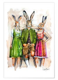 Premium poster Dude Rabbit & Bunnies