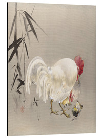 Aluminium print  Rooster and Hen with Chicks - Watanabe Seitei