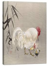 Canvas print  Rooster and Hen with Chicks - Watanabe Seitei