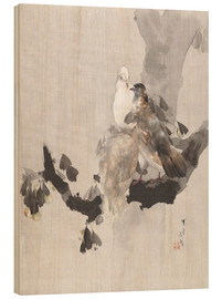 Wood print  Pigeons in a Tree - Watanabe Seitei