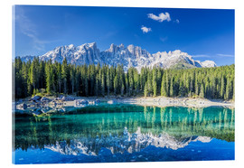 Acrylic print  Lago di Carezza in South Tyrol with Latemar mountains - Dieter Meyrl