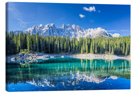 Canvas  Lago di Carezza in South Tyrol with Latemar mountains - Dieter Meyrl