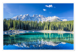 Premium poster  Lago di Carezza in South Tyrol with Latemar mountains - Dieter Meyrl