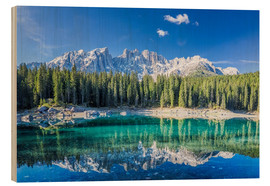 Wood print  Lago di Carezza in South Tyrol with Latemar mountains - Dieter Meyrl